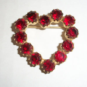 Vintage Red Rhinestone Heart Brooch